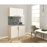 Miniküche B: 100 cm Weiß/Eiche - Edelstahlfarben/Eichefarben, MODERN, Holzwerkstoff/Metall (100cm) - MID.YOU