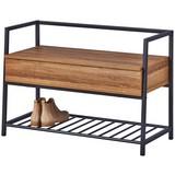 Schuhbank Shoeplace B: 90 cm Eiche Dekor - Eichefarben/Anthrazit, Basics, Holzwerkstoff/Metall (90/61/39cm) - MID.YOU