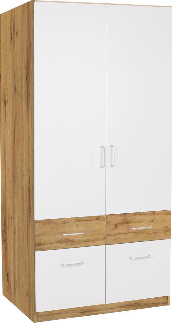 KLEIDERSCHRANK Aalen Extra, 91cm - Eichefarben/Weiß, KONVENTIONELL, Holzwerkstoff (91/197/54cm)