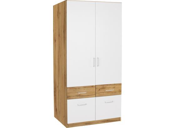 Skříň Šatní Aalen-extra - bílá/barvy dubu, Konvenční, kompozitní dřevo (91cm)