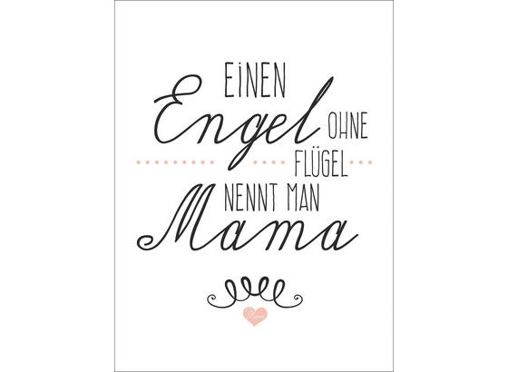 Dekopaneel Mama - Schwarz/Rosa, MODERN, Papier/Holzwerkstoff (29/39/1,1cm)