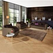 Dreisitzer-Sofa Faro B: 225cm - Chromfarben/Hellbraun, MODERN, Holz/Textil (225/90/92cm) - Ombra