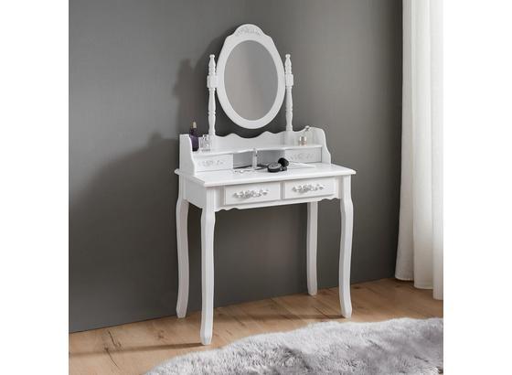 Kozmetický Stolík Romy 75x40cm - bílá, Romantický / Rustikální, dřevo/sklo (75/142/40cm) - Mömax modern living