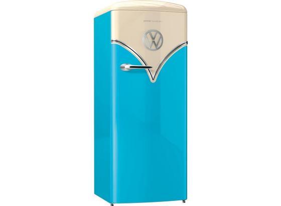 Chladnička Obrb153bl - modrá/béžová, Moderní, kov/sklo (60/154/66,9cm) - Gorenje