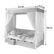 Himmelbett Lino 90x200 cm Weiß/ Hellrosa - Hellrosa/Weiß, MODERN, Holz (90/200cm) - Livetastic
