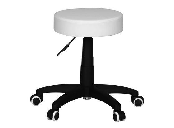Bürohocker Leon Lederlook Weiß Höhenverstellbar - Schwarz/Weiß, KONVENTIONELL, Kunststoff/Textil (50/44/50cm) - Livetastic