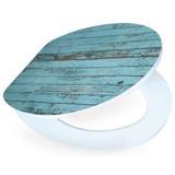 WC-Sitz High Gloss Blue Wood - Türkis/Weiß, MODERN, Holzwerkstoff (37/43,5cm)