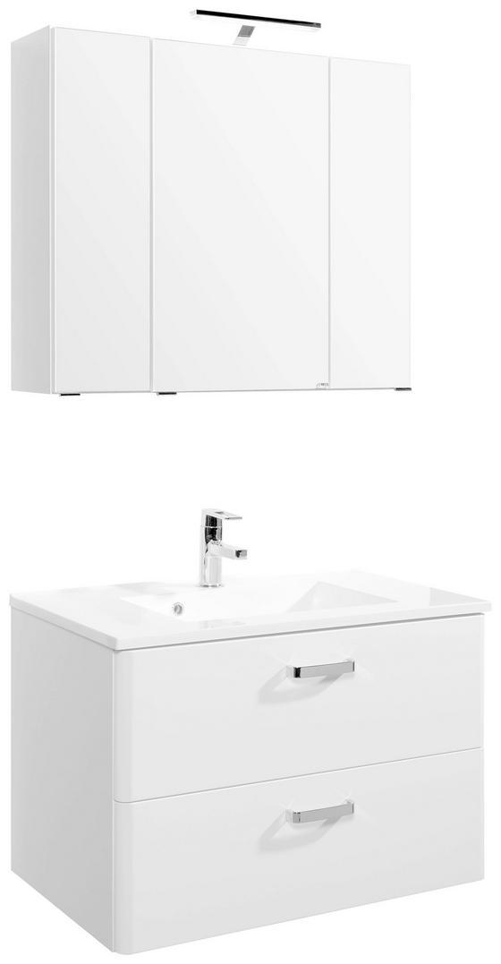 Badezimmer Phönix 80 cm Weiß - Weiß, MODERN, Holzwerkstoff/Kunststoff (80/54cm)