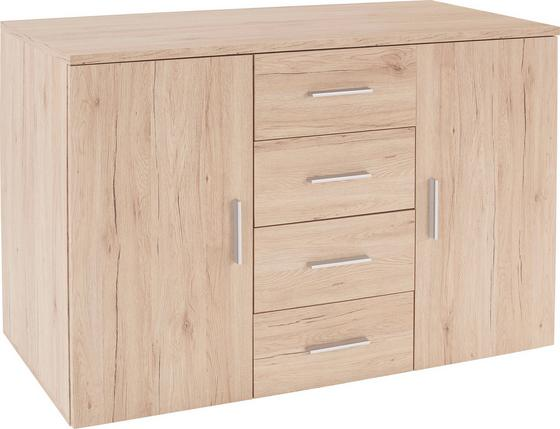 Komoda Trio - farby dubu, Moderný, drevený materiál (120/86/50cm)