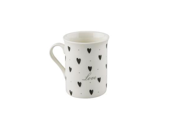 Kaffeebecher Mischella, ca. 280ml - Schwarz/Weiß, KONVENTIONELL, Keramik (7,8/9,8cm) - Luca Bessoni