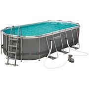 Schwimmbecken Power Steel Oval Pool Set - Grau, MODERN, Kunststoff/Metall (549/274/122cm) - Bestway