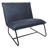 Sessel Paris Bench B: 83 cm Blau - Blau/Schwarz, MODERN, Textil (83/83/75cm) - Livetastic