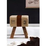 Hocker Leder/ Leinen B: 40 cm - Beige/Braun, Natur, Leder/Textil (40/47/25cm) - Livetastic