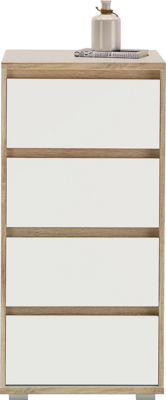 Komoda Pluto - bílá/Sonoma dub, Moderní, kompozitní dřevo (50/103/48cm)