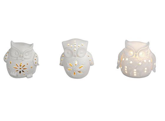 LED-Dekoleuchte Bagoly - Weiß, KONVENTIONELL, Keramik (8,6/6,8/8,8cm)