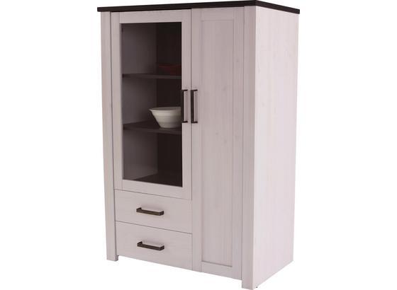Vitrína Provence - bílá/čiré, Romantický / Rustikální, kompozitní dřevo (103,5/142,2/42cm) - James Wood