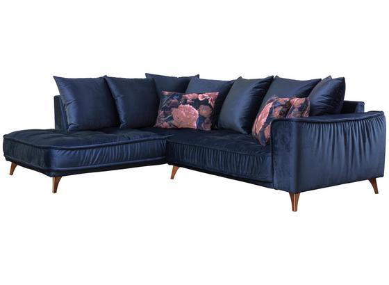 Wohnlandschaft In L-Form Belavio 210x256 cm - Dunkelblau/Kupferfarben, MODERN, Textil (210/256cm) - Luca Bessoni