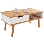 Couchtisch Turin 110cm mit Schublade und Ablagefach - Eichefarben/Weiß, MODERN, Holz/Holzwerkstoff (110/50/50cm)