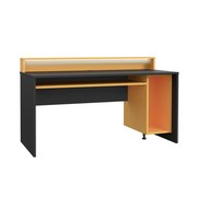 Gaming Tisch Tezaur B: 160 cm - Schwarz/Orange, Basics, Holzwerkstoff/Kunststoff (160/93,8/69cm) - MID.YOU