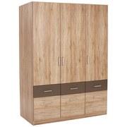 Drehtürenschrank mit Schubladen 136cm Aalen Extra, Eiche Dekor - Grau, KONVENTIONELL, Holzwerkstoff (136/197/54cm)