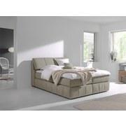 Boxspringbett mit Topper 180x200cm Flora - Beige/Schwarz, MODERN, Textil (180/200cm) - Livetastic