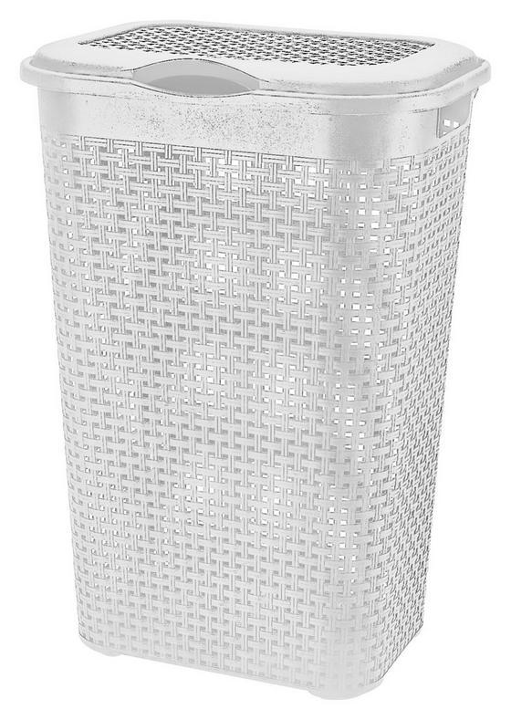 Szennyestartó Rattan - fehér, konvencionális, műanyag (39/29/57cm)