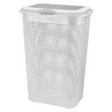 Wäschetonne Rattan 50 Liter - Weiß, KONVENTIONELL, Kunststoff (39/29/57cm) - PLAST 1