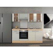 Küchenblock Abaco 210 cm Perlmutt - Edelstahlfarben/Perlmutt, MODERN, Holzwerkstoff (210/60cm) - FlexWell.ai
