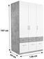 Skříň Šatní Aalen-extra - bílá/šedá, Konvenční, kompozitní dřevo (136/197/54cm)