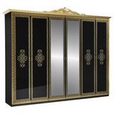 Drehtürenschrank Eliza B: 281,4 cm Schwarz - Goldfarben/Schwarz, ROMANTIK / LANDHAUS, Glas/Holzwerkstoff (282/232/60cm) - Carryhome