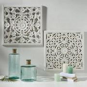Dekorace Nástěnná Salomon - bílá, Moderní, dřevo (60/60/2cm)