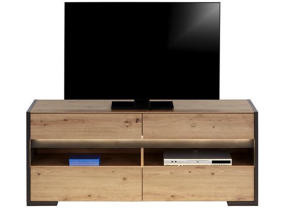 TV-Element Salerno - Eichefarben/Grau, MODERN, Glas/Holzwerkstoff (145,8/58,9/42,1cm)