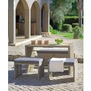 Gartenset Kiato 4-teilig inkl. Kissen - Braun/Grau, MODERN, Kunststoff/Textil - Luca Bessoni