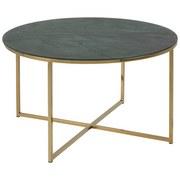 Couchtisch mit Bedruckter Glasplatte Alisma Marmorgrün - Goldfarben/Grau, Trend, Glas/Metall (80/80/45cm) - Carryhome
