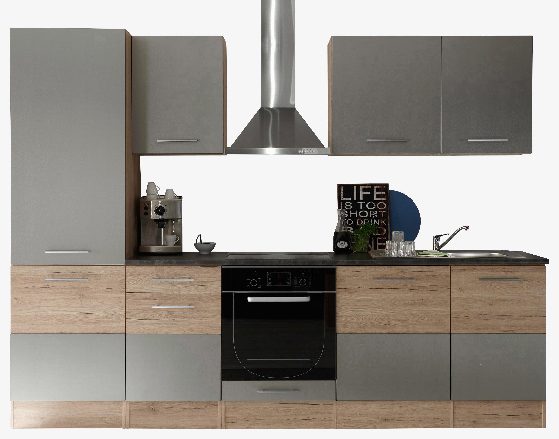 Kuchynská Linka Welcome 7 Inox - farby dubu/hliníkové farby, Moderný, drevený materiál (280/211/60cm)