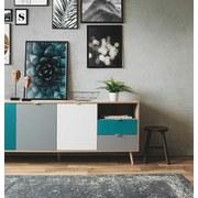 Sideboard B 180cm Cube 56-Trend, Eiche Dekor/Farbig - Eichefarben/Petrol, Trend, Holzwerkstoff (180/71/40cm) - Carryhome