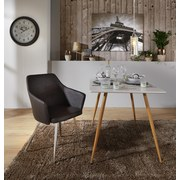 Stuhl Sabrina Anthrazit - Chromfarben/Anthrazit, MODERN, Textil/Metall (51/86/55cm) - Ombra