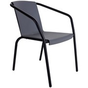 Gartensessel Stapelbar Carola Eisen, Kunststoff - Schwarz/Grau, MODERN, Kunststoff/Metall (56/75/66cm) - Luca Bessoni