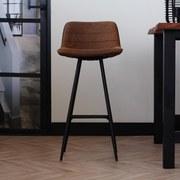 Barhocker-Set Jordan B: 49 cm Braun - Schwarz/Braun, LIFESTYLE, Textil/Metall (49/101/43cm) - MID.YOU