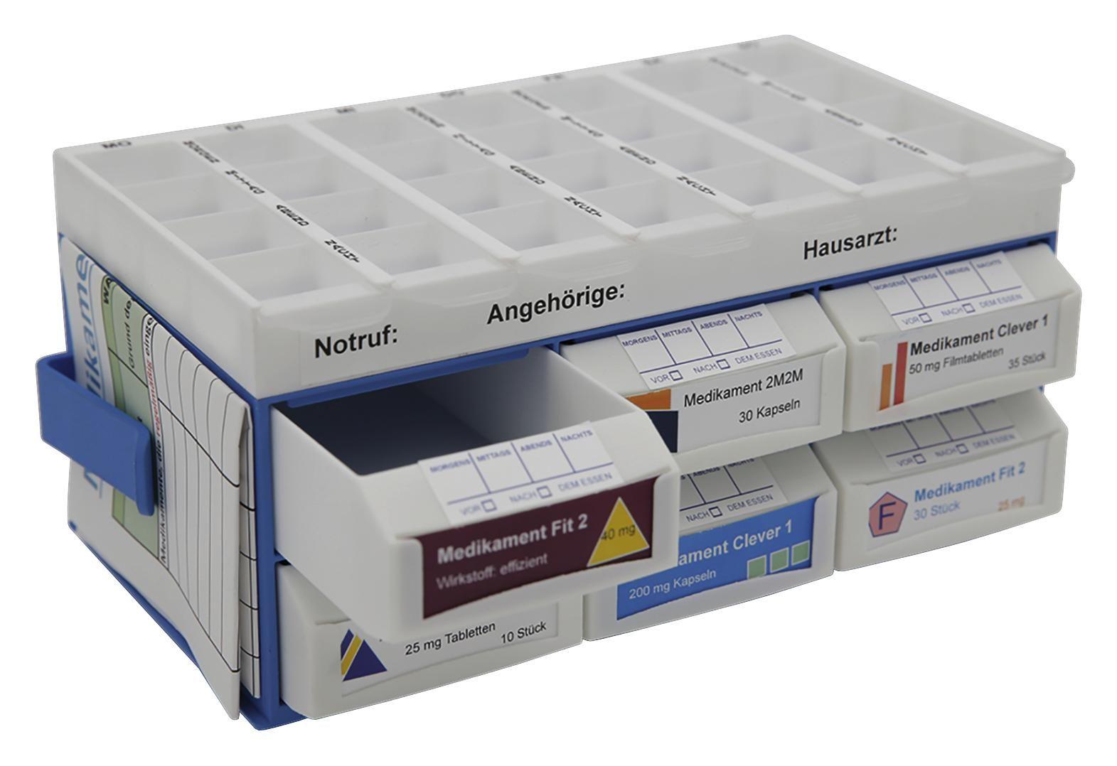 Pillenbox Pillbase - Blau/Weiß, Basics, Kunststoff