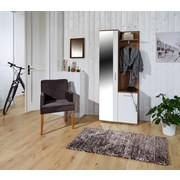 Garderobe Xara - Eichefarben/Weiß, MODERN, Glas/Holzwerkstoff (80/189/30,5cm)