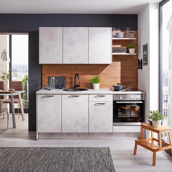 Kuchyňský Blok Santiago - šedá/světle šedá, Moderní, kompozitní dřevo (204cm)