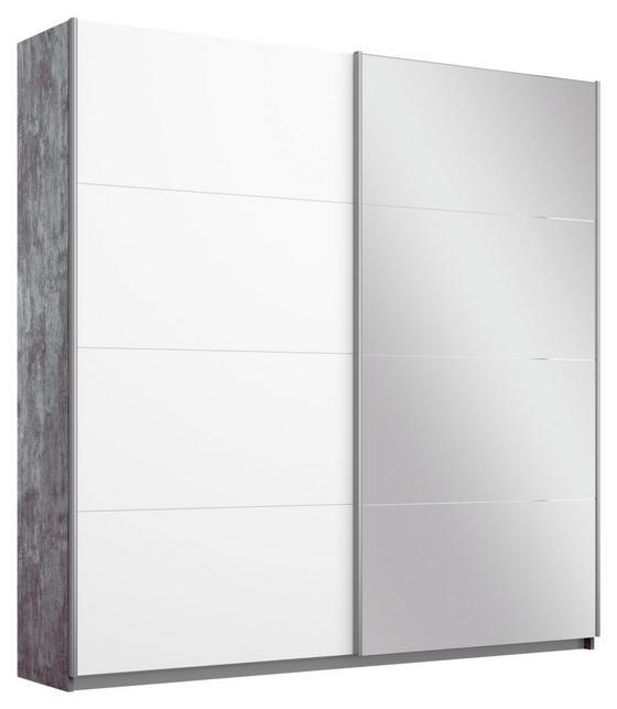 Schwebetürenschrank Belluno 181 cm Stone/Weiß/sp. - Weiß/Grau, MODERN, Holzwerkstoff (181/210/62cm)