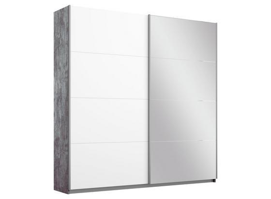 Schwebetürenschrank Belluno B:181cm Stone/Weiß/spiegel - Weiß/Grau, MODERN, Holzwerkstoff (181/210/62cm)