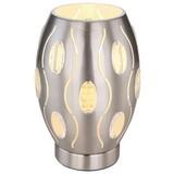 Tischlampe Narri Nickelfarben mit Kristallglas-Elementen - Weiß, Basics, Glas/Metall (15/23cm)