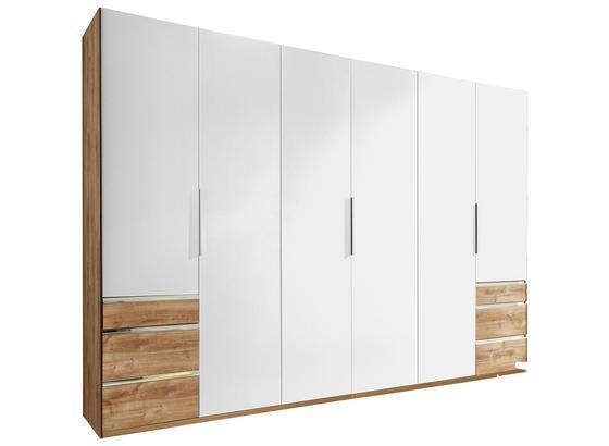 Drehtürenschrank mit Schubladen 300cm Level 36a, Weiß Dekor - Eichefarben/Weiß, MODERN, Holzwerkstoff (300/216/58cm)