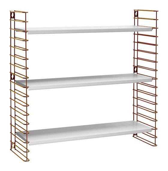 Wandregal Tomado 70cm Kupfer/ Weiß - Weiß/Kupferfarben, KONVENTIONELL, Kunststoff/Metall (70/68/21cm) - Tomado