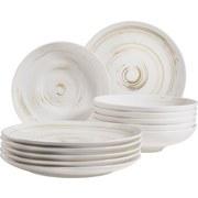 Tafelservice 12-Tlg Tafelservice Derby - Beige/Weiß, Basics, Keramik (32/32/30cm) - Mäser