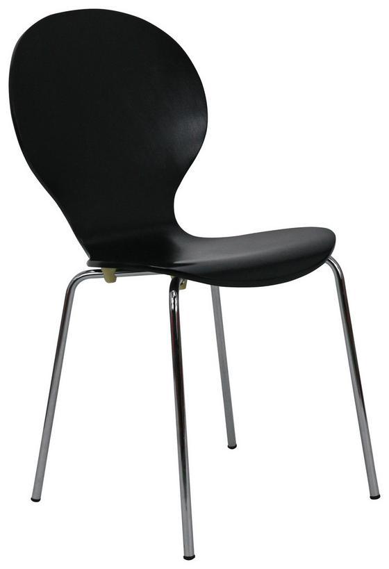 Stuhl Ria - Chromfarben/Schwarz, KONVENTIONELL, Holz/Metall (45/86/50cm)