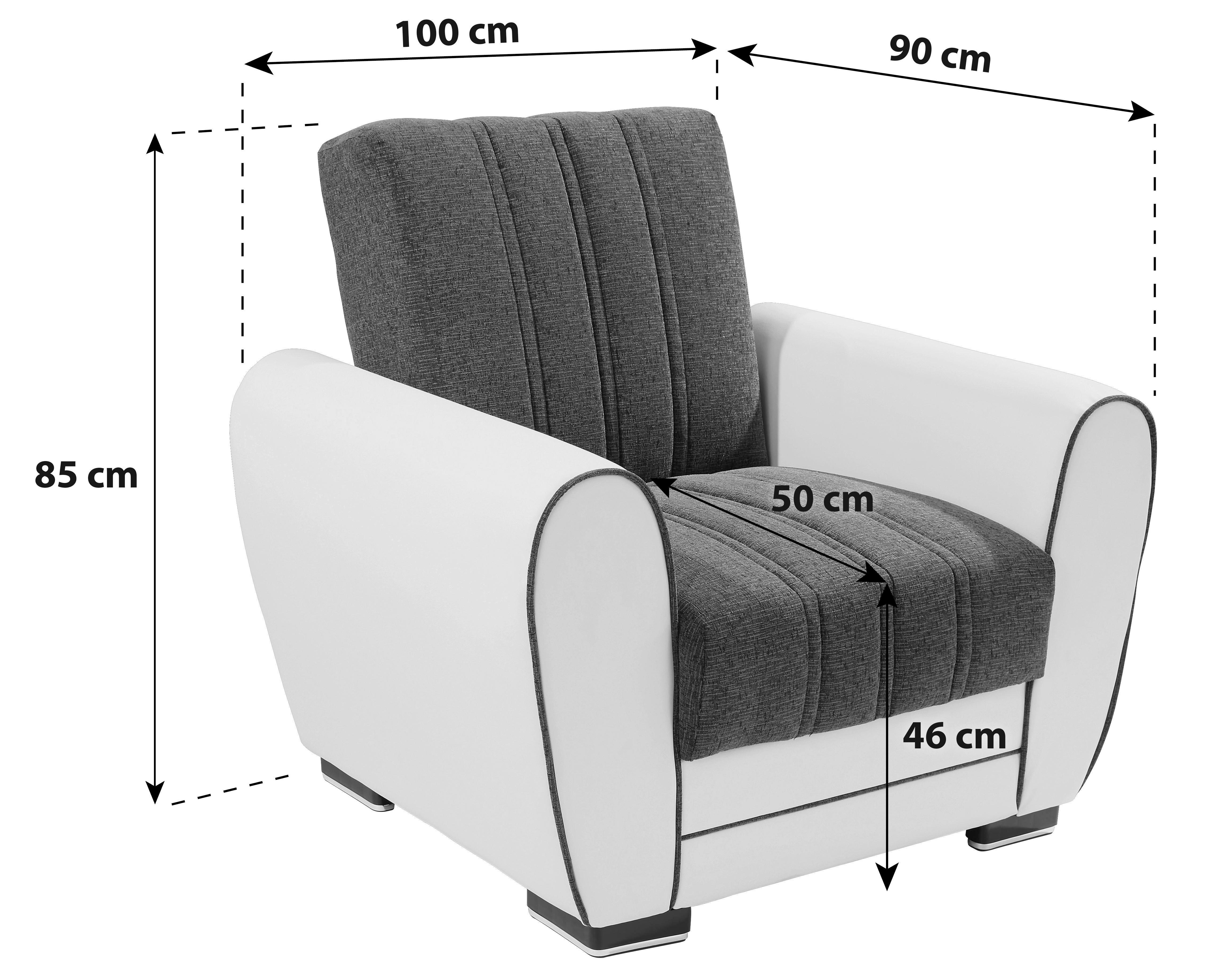 Jednosjed Fotelja - bijela/smeđa, Moderno, drvni materijal/tekstil (100/85/90cm)